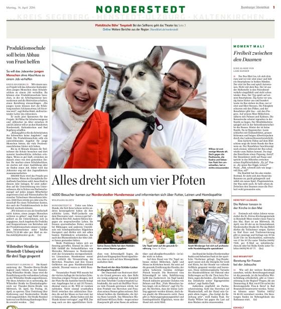 """Bericht in der Regional Ausgabe """"Norderstedt"""" vom Hamburger Abendblatt am 14.04.14 - und wir sind mit einem Foto dabei :-)"""